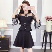 俏皮套裝女兩件套夏季韓版網紗喇叭袖拼接收腰上衣 高腰A字半身裙