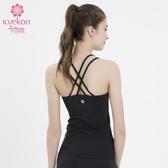 kvekon瑜伽服2020新款細肩帶棉感錦綸吊帶含胸墊瑜伽背心健身上衣mks歐歐