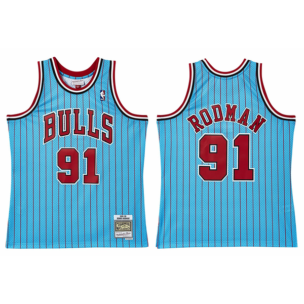 MITCHELL & NESS M&N 球衣 異色版 ROOMAN #91 公牛 藍紅條 (布魯克林) MNRLJE05D