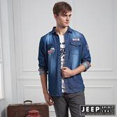 【JEEP】刷色牛仔長袖休閒襯衫 (牛仔藍)