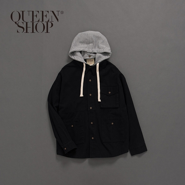 Queen Shop【02071086 】撞色斜紋多口袋連帽外套 1/2*現+預*