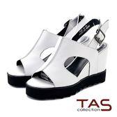 ★↘5 折 ★ TAS  雙側鏤空寬繫帶厚底涼鞋-亮眼白