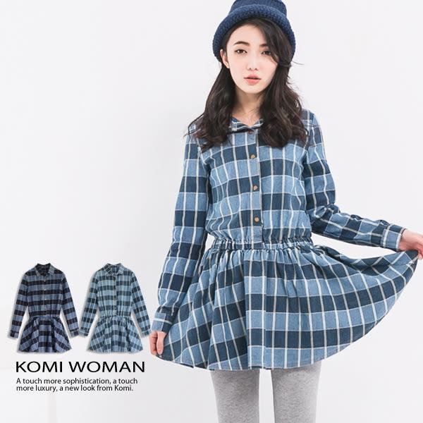 牛仔洋裝【KOMI】丹寧格紋襯衫領洋裝 (1696-907710)
