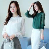 韓版百搭長袖網紗打底蕾絲衫女仙氣質雪紡上衣