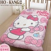 HO KANG 卡通授權 超柔舒適短毛絨毯被 - Hello Kitty - 蘋果蝴蝶