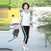 兩件套 中年媽媽夏裝休閒運動套裝中老年人女裝夏季短袖t恤上衣服 OO129778『黑色妹妹』