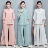茶服居士服女佛繫衣服中國風中式復古棉麻茶服禪意禪修服漢服唐裝套裝 阿卡娜