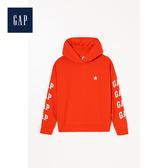 Gap女裝棉質迷彩徽標設計連帽衫499579-茄紅色
