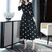 大碼洋裝 胖mm新款女洋氣波點顯瘦胖妹妹雪紡遮肚連身裙減齡