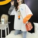 短袖 長版 上衣 假兩件t恤女打底衫長袖內搭2020新款夏季韓版網紅洋氣上衣