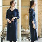 洋裝-抽繩收腰毛衣中長版針織裙深藍色/設計家 Q8905