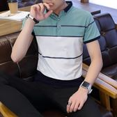 短袖POLO衫T恤男夏季修身半袖條紋學生青少年男T《印象精品》t283