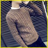毛衣 韓版潮流圓領針織衫套頭修身毛線衣
