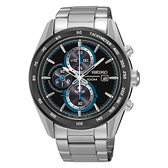 SEIKO Criteria時尚率性太陽能計時腕錶/黑面x藍/V176-0AL0S