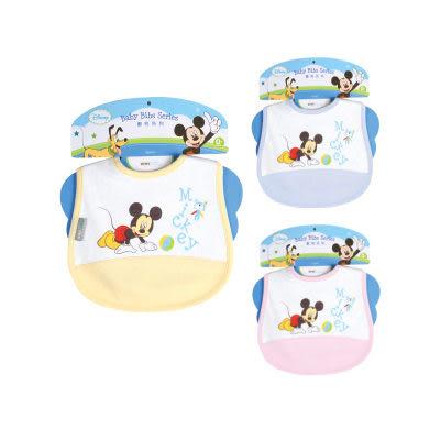【奇買親子購物網】迪士尼Mickey米奇剪接圍兜(藍色/粉色/黃色)