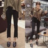 九分褲 破洞牛仔褲ulzzang微喇叭褲韓版高腰寬鬆黑色八分闊腿褲