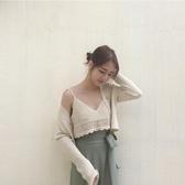 2018早春復古性感手工鉤花針織V領細肩帶短款吊帶露臍上衣背心女