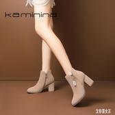 中大尺碼短靴女新款秋冬季高跟靴子冬季粗跟鞋百搭馬丁靴 LF1781【艾菲爾女王】