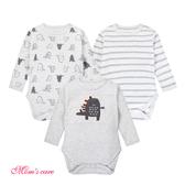 Moms care棉感長袖三角包屁衣 三件組 灰色恐龍 連身裝 嬰兒裝 哈衣 兔裝