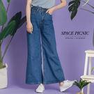 寬褲 Space Picnic|素面銅釦單寧牛仔落地寬褲(現+預)【C18051113】