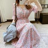 短袖雪紡洋裝女2020夏季新款V領淑女裙顯瘦鬆緊腰長裙碎花裙子 小時光生活館