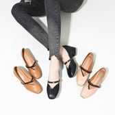 奶奶鞋女春季2019新款復古一字扣高跟鞋中跟粗跟單鞋女黑色工作鞋