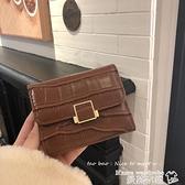 短夾 ins小錢包女短款2021新款簡約復古折疊搭扣零錢包韓版錢夾卡包 曼慕