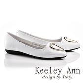 ★零碼出清★Keeley Ann水滴金屬釦飾OL莫卡辛微尖頭鞋(白色)-Ann系列