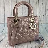 BRAND楓月 Christian Dior 迪奧 粉珠光 LADY DIOR 4X5 舊版黛妃包 手提包 肩背包