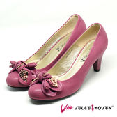 高跟鞋 新娘鞋 晚宴鞋 VelleMoven 全真皮 綁蝴蝶 葉片飾品 都會OL MIT製 舒適高跟鞋_典雅紅