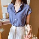 港風襯衫女短袖2021夏季新款輕熟復古設計感小眾棉麻襯衣溫柔上衣