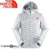 【The North Face 男 ThermoBall暖魔球 保暖兜帽外套 灰白/灰藍】 C938/暖魔球外套★滿額送