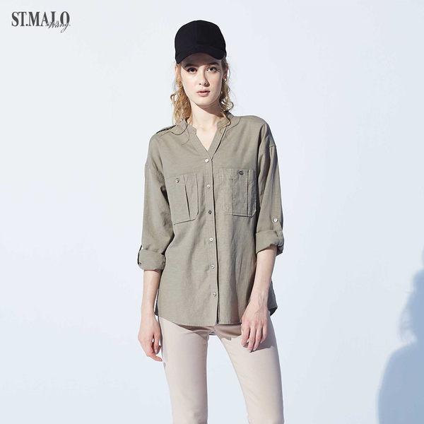 【ST.MALO】歐洲貴族經典天絲亞麻女襯衫-1931WS-松葉綠