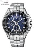 CITIZEN 星辰(AT9090-53L) 萬年曆光動能電波鈦金屬錶 限量商品 藍42.7mm