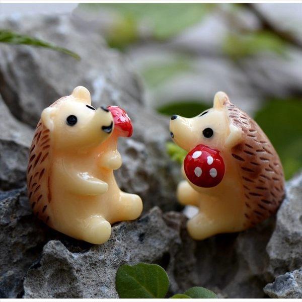 拿蘑菇小刺蝟微景觀 盆栽裝飾【A005011】