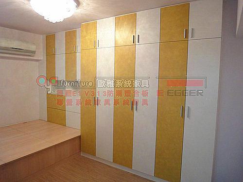 【系統家具】臥室 系統衣櫃 系統收納床 和式地板 百合白加芥末百合