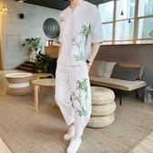 夏季亞麻套裝男休閒 裝潮流刺繡短袖t恤 時尚寬鬆棉麻料男裝兩件套 降價兩天