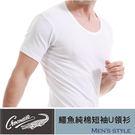 【Crocodile鱷魚】純棉短袖男U領衫/內衣/T恤/男性/男用/內著 100%精梳棉 舒適好穿 芽比 YABY 7882