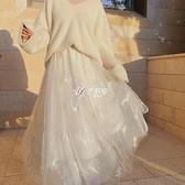 網紗半身裙高腰百褶裙春夏季女2021新款仙女白色紗裙子中長款超仙