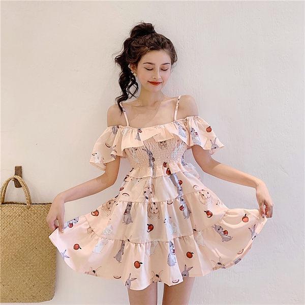 VK旗艦店 韓國風甜美小兔一字領收腰短袖洋裝