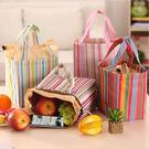 《J 精選》時尚條紋束口保溫便當袋/野餐袋