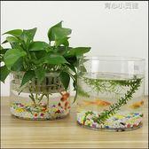 創意水族箱生態圓形玻璃金魚缸 大號烏龜缸 迷你小型造景水培花瓶YYJ 育心小賣館