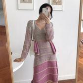 913#秋新款韓版條紋毛衣網紅針織吊帶無袖連身裙套裝PF-5F-506-A朵維思