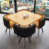 簡約接待洽談桌椅組合現代辦公休閒會客桌椅咖啡廳店鋪小圓桌餐桌【快速出貨】