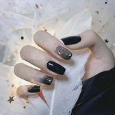 黑色漸變月亮甲 新娘甲孕婦甲 短款美甲成品 歐亞時尚