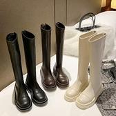 長筒靴 女2021秋冬新款加絨厚底馬丁靴長靴白色高筒網紅瘦瘦騎士靴 百分百