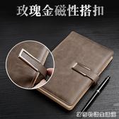定制筆記本文具商務辦公用a5復古創意皮面帶扣記事本子加厚日記本定制  居家物語