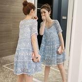 孕婦裝 (雪紡連身裙兩件套)-時尚優雅氣質花朵女連衣裙3色73mx11【時尚巴黎】