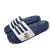 adidas 涼拖鞋 Adilette Shower 藍 白 男鞋 皇家馬德里 足球系列 運動拖鞋 涼鞋 【ACS】 FW7073