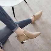 2020新款春秋韓版顯瘦馬丁靴單靴磨砂粗跟低跟短靴尖頭平底裸靴女